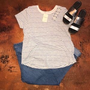 NWT Lucky Brand Stripe Lace Up Shoulder Tee